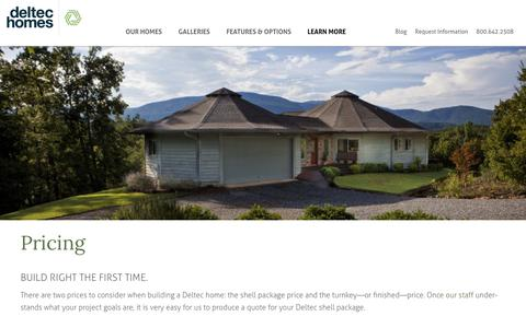 Screenshot of Pricing Page deltechomes.com - Prefab Home Price | Deltec Homes Price | Deltec Homes - captured Aug. 6, 2018