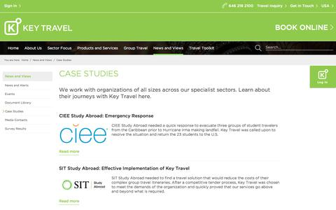 Screenshot of Case Studies Page keytravel.com - Case Studies | Key Travel - captured July 13, 2018