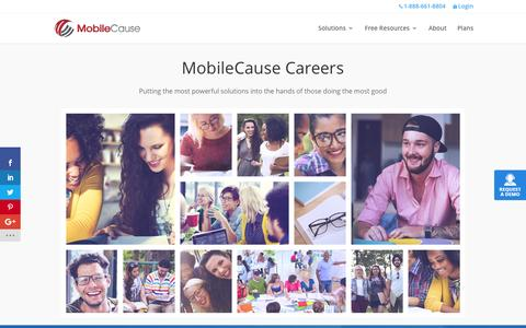 Screenshot of Jobs Page mobilecause.com - MobileCause Careers - captured July 4, 2016