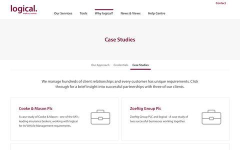 Screenshot of Case Studies Page logicalvm.co.uk - Case Studies - Logical Vehicle Management - captured Sept. 29, 2018