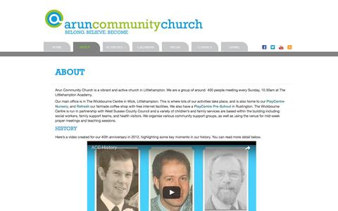 Screenshot of About Page aruncommunitychurch.com - Arun Community Church | About - captured May 30, 2017