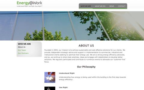 Screenshot of About Page energy-efficiency.com - About Us — Energy@Work - captured Jan. 29, 2016