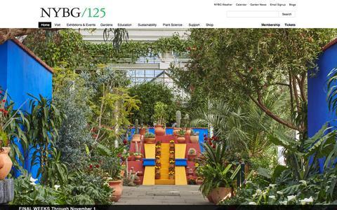 Screenshot of Home Page nybg.org - New York Botanical Garden - captured Oct. 1, 2015