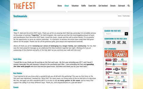 Screenshot of Testimonials Page thefest.us - Testimonials – the FEST - captured Sept. 27, 2018