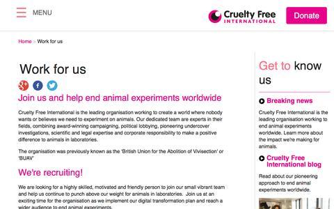 Screenshot of Jobs Page crueltyfreeinternational.org - Work for us | Cruelty Free International - captured Feb. 7, 2016