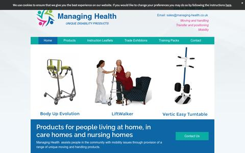 Screenshot of Home Page managing-health.co.uk - Moving and handling products by Managing Health in Weston-Super-Mare - captured July 22, 2016