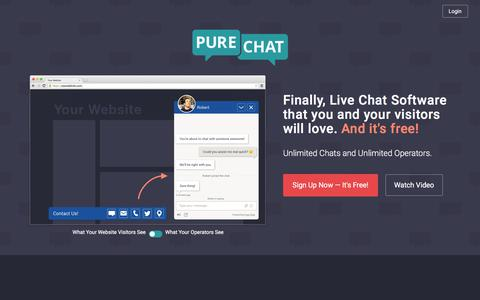 Screenshot of Home Page purechat.com - 100% Free Live Chat Software for Businesses | Pure Chat - captured Sept. 11, 2017