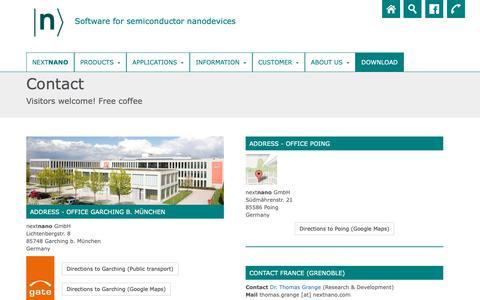 Screenshot of Contact Page nextnano.com - contact | nextnano - captured Oct. 20, 2018