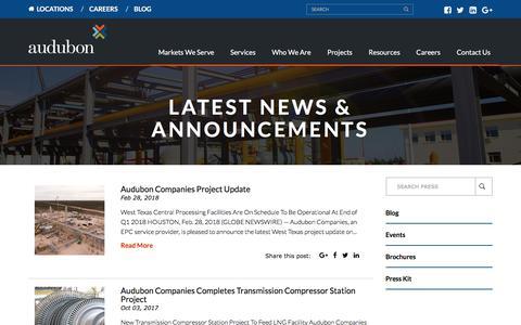 Screenshot of Press Page auduboncompanies.com - Latest News - Audubon Companies - captured March 2, 2018