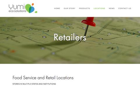 Screenshot of Locations Page yumieco.com - Retailers — Yumi EcoSolutions: Innovative, Sustainable, Quality Eco Products including Yumi Bamboo and Yumi Return - captured Dec. 2, 2016