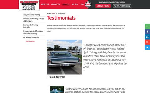 Screenshot of Testimonials Page blackburnwheels.com - Testimonials - Blackburn Wheels - Blackburn - captured Oct. 6, 2018