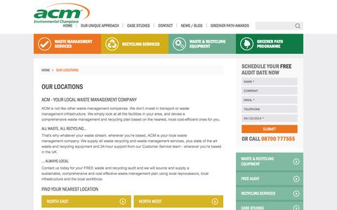 Screenshot of Locations Page acmplc.com - Your Local Waste Management Company - ACM Environmental - captured Oct. 4, 2014