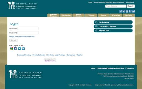 Screenshot of Login Page hbchamber.net - Login - Hermosa Beach Chamber of Commerce and Visitors Bureau - captured Nov. 8, 2016