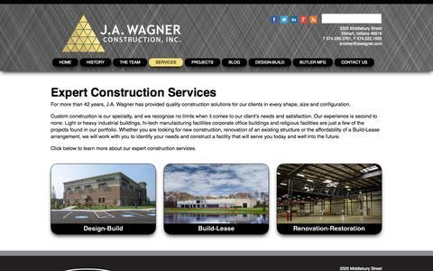 Screenshot of Services Page jawagner.com - Services - captured Nov. 2, 2014