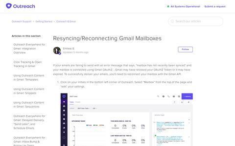 Screenshot of Support Page outreach.io - Resyncing/Reconnecting Gmail Mailboxes – Outreach Support - captured Dec. 11, 2018