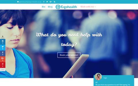 Screenshot of Services Page ergo-health.co.uk - Work with me – Ergohealth - captured Aug. 8, 2017