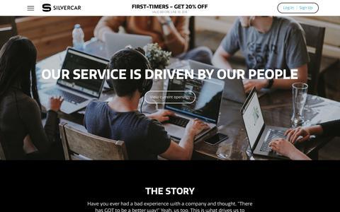 Screenshot of Jobs Page silvercar.com - Silvercar Careers | Silvercar - captured June 2, 2018
