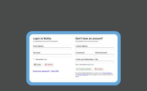 Screenshot of Landing Page wufoo.com - Wufoo · Login - captured Aug. 18, 2016