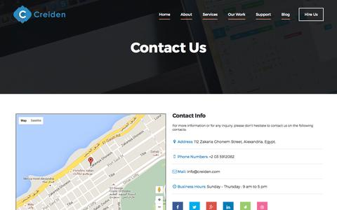 Screenshot of Contact Page creiden.com - Contact us - Creiden - captured Oct. 1, 2015