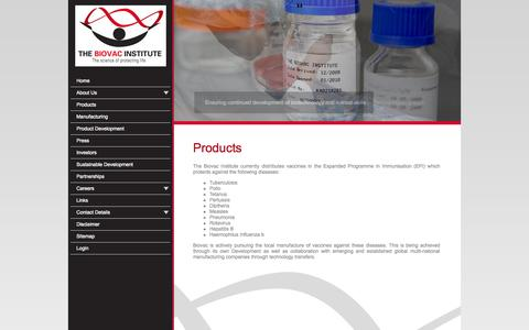 Screenshot of Products Page biovac.co.za - Products - captured Oct. 26, 2014