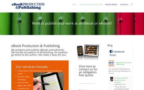Screenshot of Home Page ebookproduction.com.au - eBook Production & Publishing - eBook Production & Publishing - captured Oct. 3, 2014