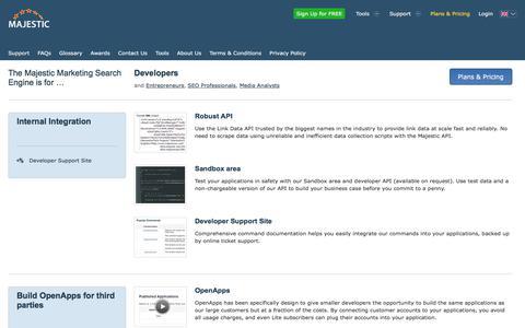 Screenshot of Developers Page majestic.com - Majestic for SEO Developers - Majestic - captured Sept. 5, 2019