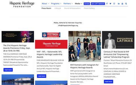 Screenshot of Press Page hispanicheritage.org - Press Room - Hispanic Heritage Foundation - captured Sept. 29, 2018