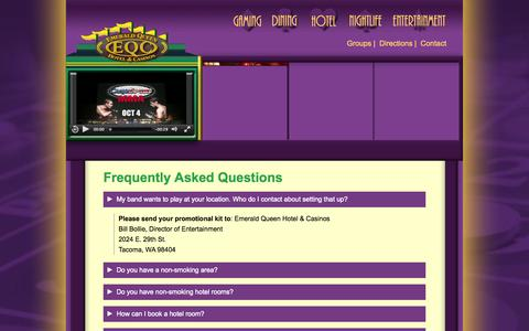 Screenshot of FAQ Page emeraldqueen.com - Frequently Asked Questions - Emerald Queen Hotel & Casinos - Tacoma & Fife Washington - captured Oct. 2, 2014