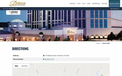 Screenshot of Maps & Directions Page belterracasino.com - Directions to Belterra | Belterra Casino Resort - captured Nov. 13, 2018