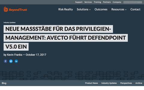 Screenshot of Team Page beyondtrust.com - Neue Maßstäbe für das Privilegien-Management: Avecto führt Defendpoint V5.0 ein | BeyondTrust - captured Jan. 3, 2020