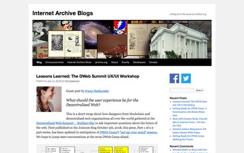 Screenshot of Blog archive.org - Internet Archive Blogs | A blog from the team at archive.org - captured July 14, 2019
