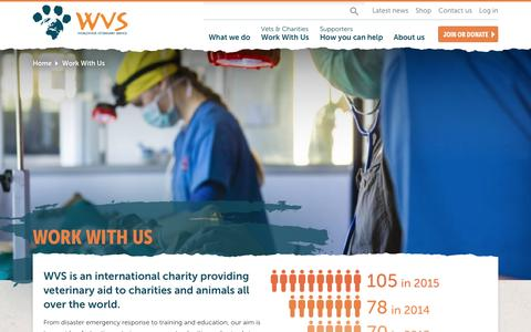 Screenshot of Jobs Page wvs.org.uk - Work With Us | WVS | Worldwide Veterinary Service - captured Dec. 19, 2016