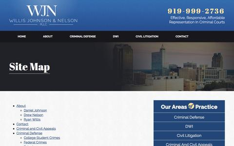 Screenshot of Site Map Page wjnpllc.com - Site Map | Willis Johnson & Nelson PLLC | Raleigh, North Carolina - captured Feb. 14, 2016