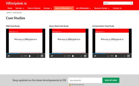 Screenshot of Case Studies Page hrhelpdesk.in - Case Studies - Customized HR Consulting & Training Company India | HRhelpdesk - captured Sept. 15, 2017