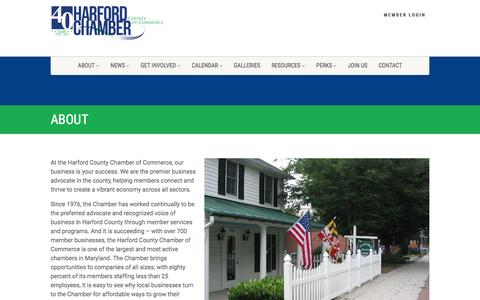 Screenshot of About Page harfordchamber.org - About - Harford Chamber of Commerce - captured Jan. 26, 2016