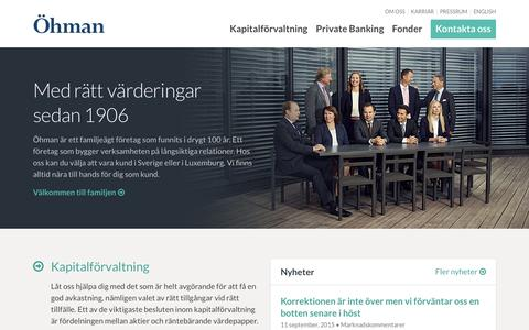 Screenshot of Home Page ohman.se - Öhman — Med rätt värderingar sedan 1906 - captured Sept. 11, 2015