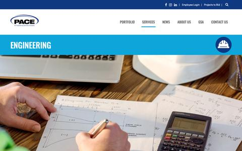 Screenshot of Services Page paceengrs.com - Engineering | PACE Engineers, Inc. - captured Nov. 9, 2018