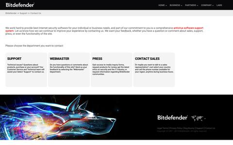Screenshot of Contact Page bitdefender.com - Contact Us - captured April 8, 2019