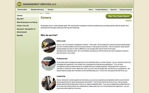 Screenshot of Jobs Page bhmanagement.com - About BH Management, Careers BH Management Services - Luxury Apartment Home Rentals & Third-Party Management for Owners - captured Sept. 19, 2014