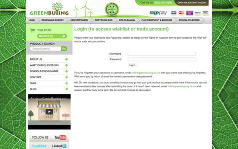 Screenshot of Login Page greenbuying.co.uk - GreenBuying.co.uk - Only Eco products sold - captured Nov. 15, 2016