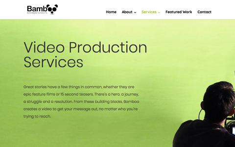Screenshot of Services Page bambooshoots.ca - Services | Bamboo Shoots | Calgary | Regina | Saskatoon | Production Company - captured Aug. 1, 2018