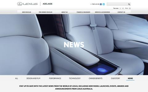 Screenshot of Press Page lexusofadelaide.com.au - Lexus News: Lexus of Adelaide - captured July 13, 2016