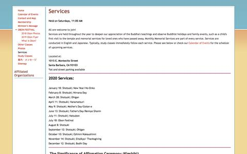 Screenshot of Services Page buddhistchurchofsantabarbara.org - Services - Buddhist Church of Santa Barbara - captured Jan. 22, 2020
