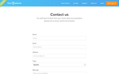 Screenshot of Contact Page floorplanner.com - floorplanner - contact - captured Feb. 22, 2020