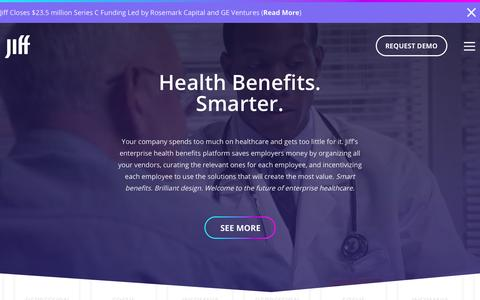 Screenshot of Home Page jiff.com - Jiff | Enterprise Health Benefits Platform - captured July 3, 2015