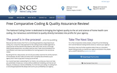 Screenshot of Trial Page nationalcodingcenter.com - Free Comparative Coding & Quality Assurance Review : National Coding Center - captured Nov. 5, 2014