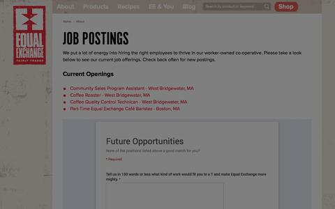 Screenshot of Jobs Page equalexchange.coop - Job Postings | Equal Exchange - captured Sept. 19, 2014