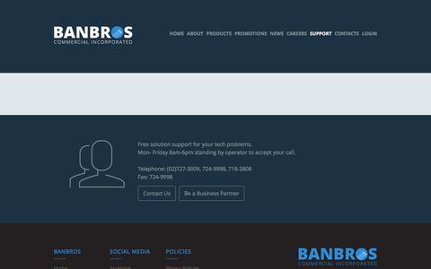 Screenshot of Support Page banbros.ph - BanBros - captured Feb. 7, 2016