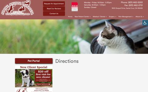 Screenshot of Maps & Directions Page adobevets.com - » Directions   Veterinarian and Animal Hospital in Santa Cruz, CA - captured Oct. 3, 2018