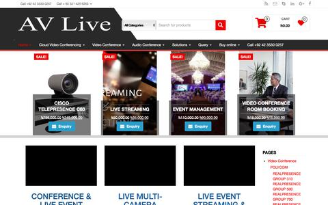 Screenshot of Home Page av-live.com.pk - Video Conferencing in Pakistan- AV Live +92 42 3530 0257 - captured May 9, 2019